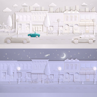 White paper art city scene - An ilustration by Gail Armstrong