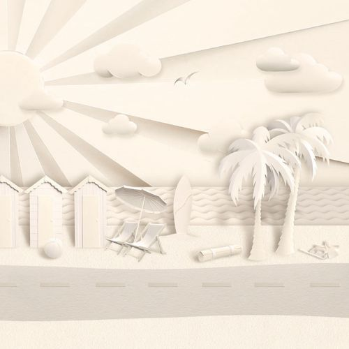 Paper art beach scene by Gail Armstrong