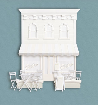 3D paper art Bistro - An ilustration by Gail Armstrong