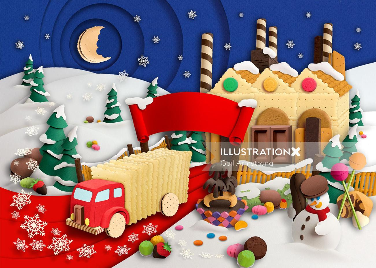 Christmas gingerbread house paper craft