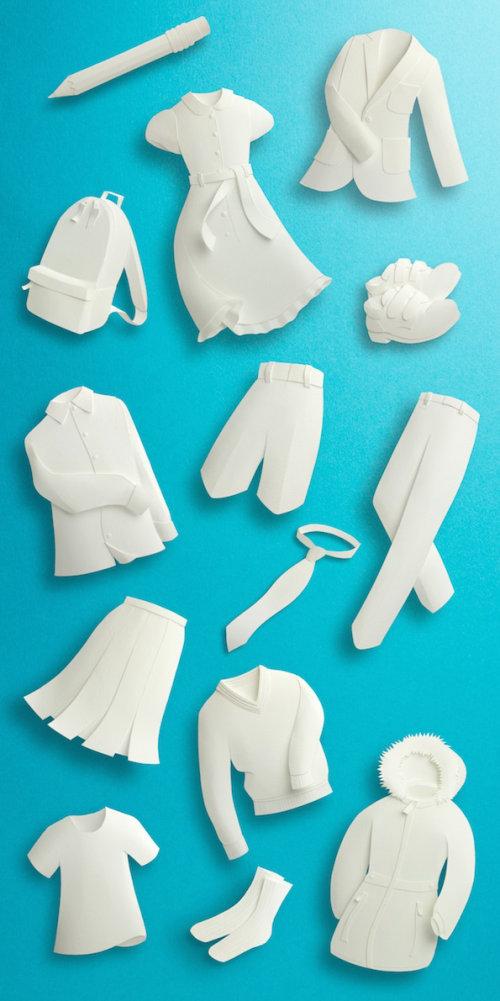 Ilustración de escultura de papel para uniformes de M&S