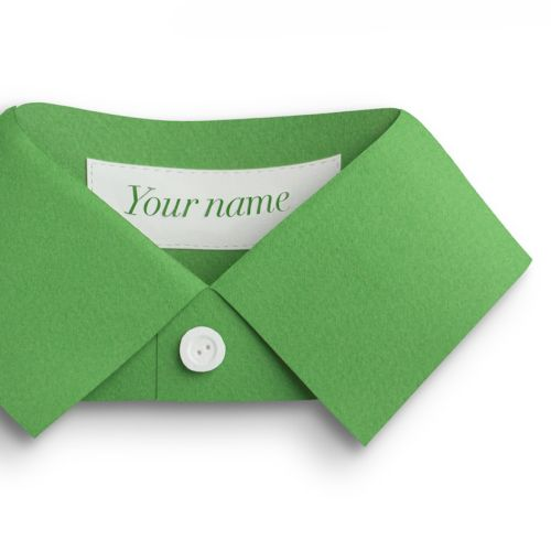Green paper shirt collar