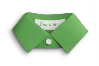 Green paper shirt collar