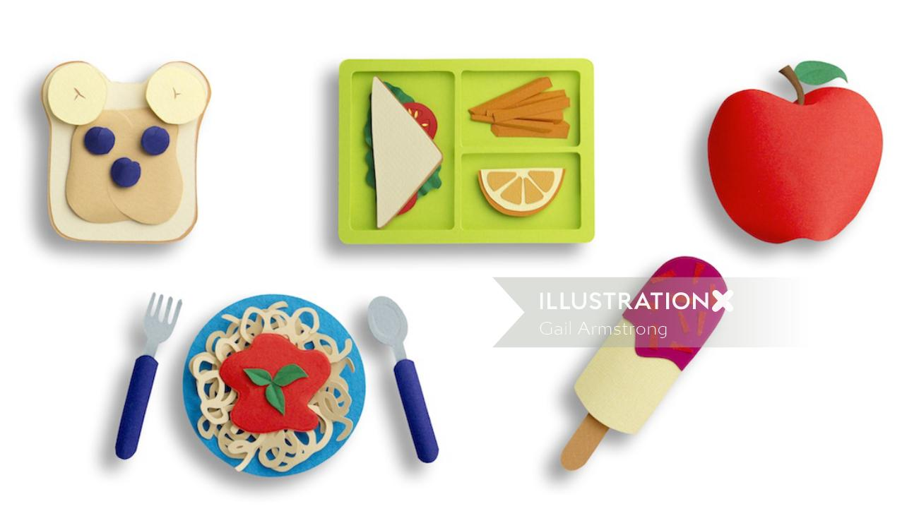 Set of paper crafted food icons
