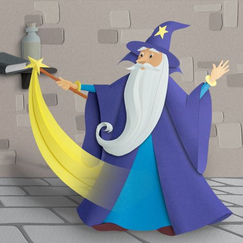 Old wizard performing magic