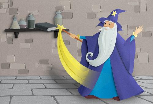 Viejo mago realizando magia