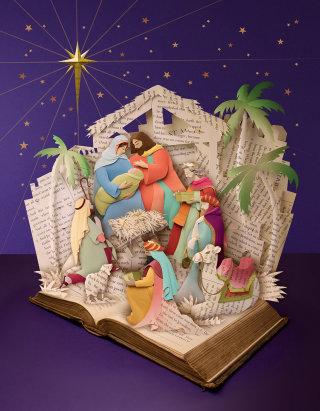 paper craft of nativity christmas scene