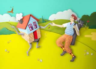 Golfer dancing with house