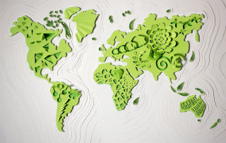 Paper cut map of the world