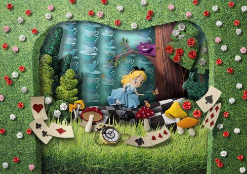 Ilustración de naturaleza para Alicia en el país de las maravillas