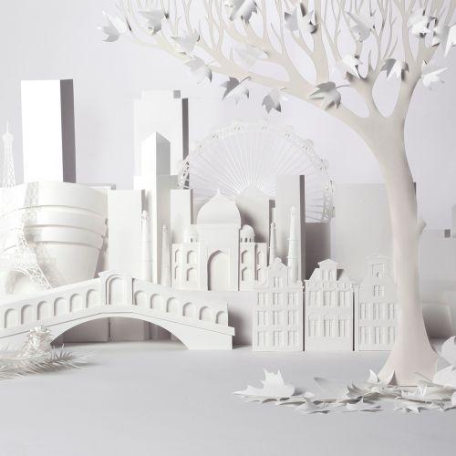 Paper art of city buildings