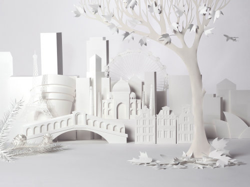 Paper art of city buildings