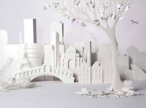 Papier d'art des bâtiments de la ville