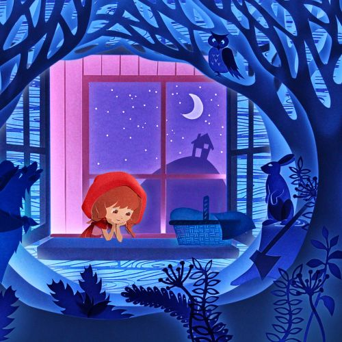 Advertising Paper art of girl looking out at woodland night scene