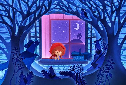 Papier publicitaire art de fille regardant la scène de nuit des bois