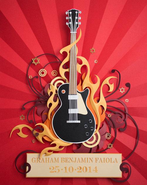 Arte de papel de corte de guitarra decorado