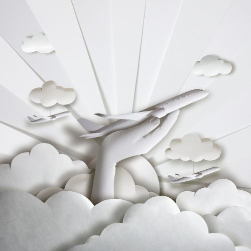 Aeroplane in hand cut paper art