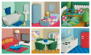 3d paper cut images with interiors