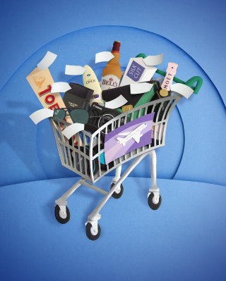 Shopping cart with groceries illustration