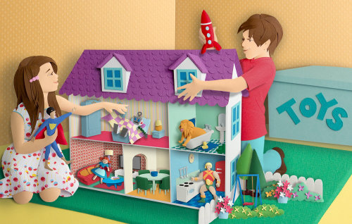 Paper cut art of children with mini house