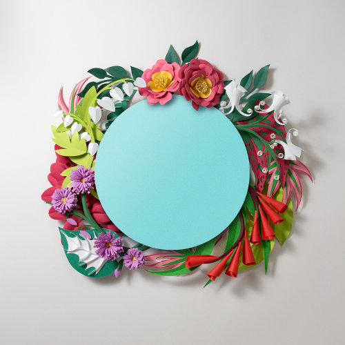paper sculpture of floral photo booth frame