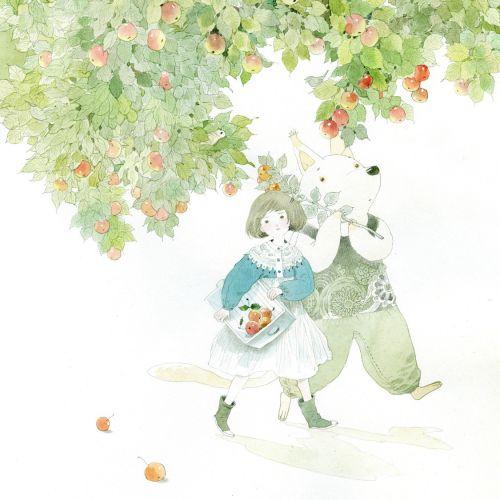 children walking under apple tree
