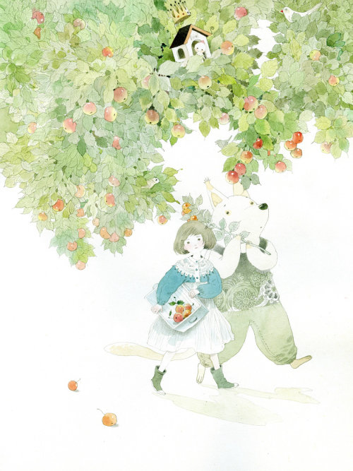 children walking under apple tree