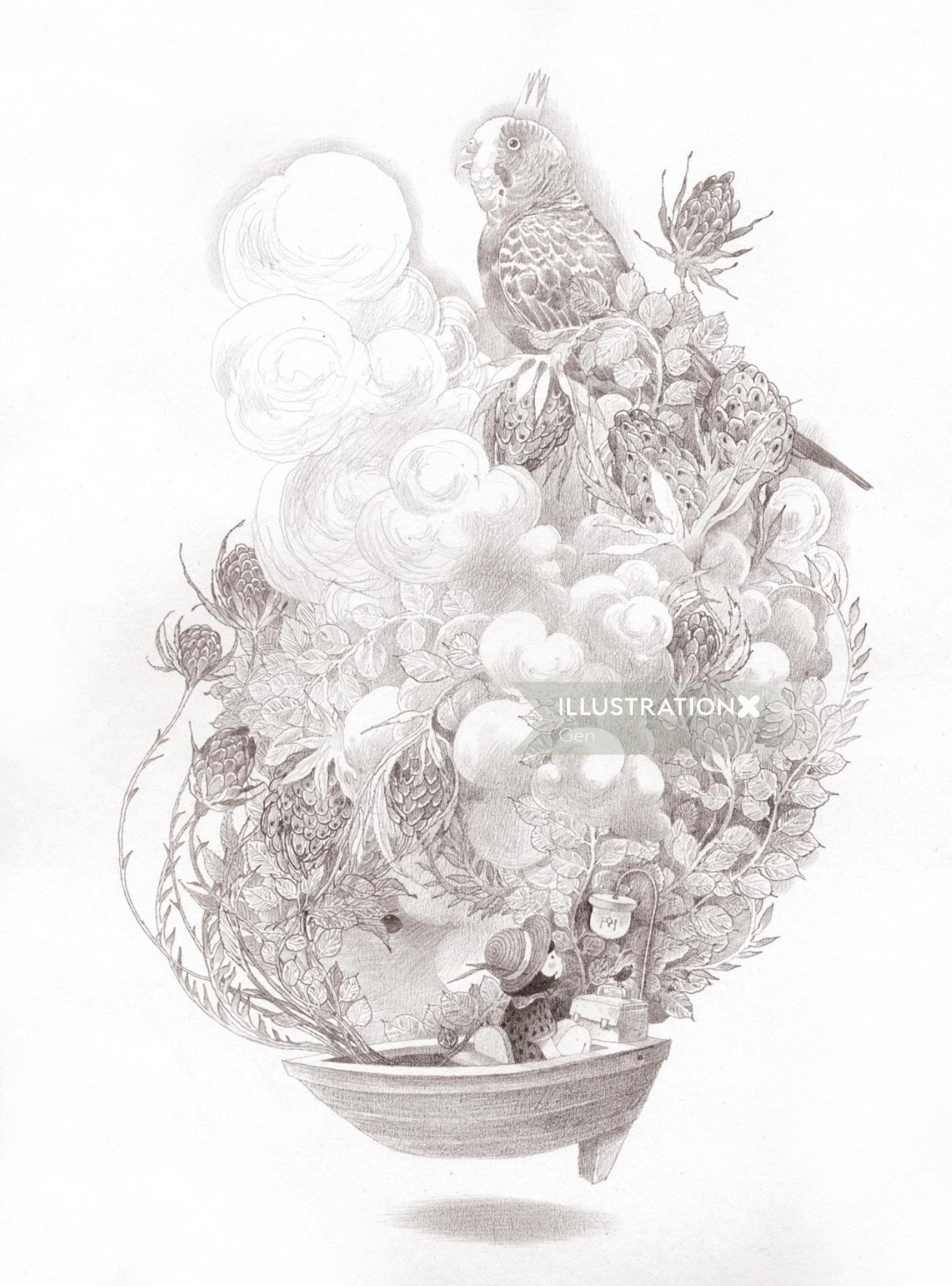 Contemporary illustration Bird on plant