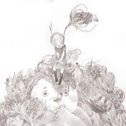 Children Girl Sitting on Panda's head Drawing