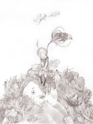 Girl Sitting on Panda's head Drawing