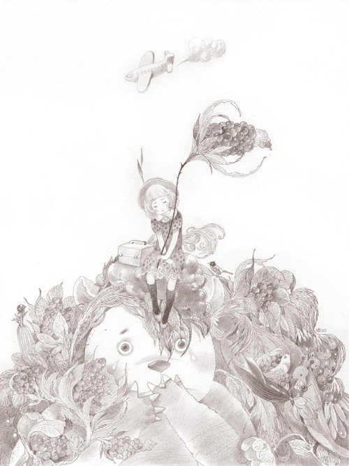 Enfants fille assise sur la tête de Panda Dessin