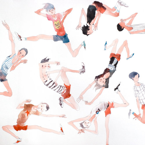 Contemporary illustration  various poses of teenagers