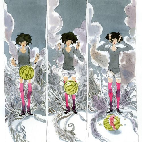Contemporary illustration  girl with watermelon