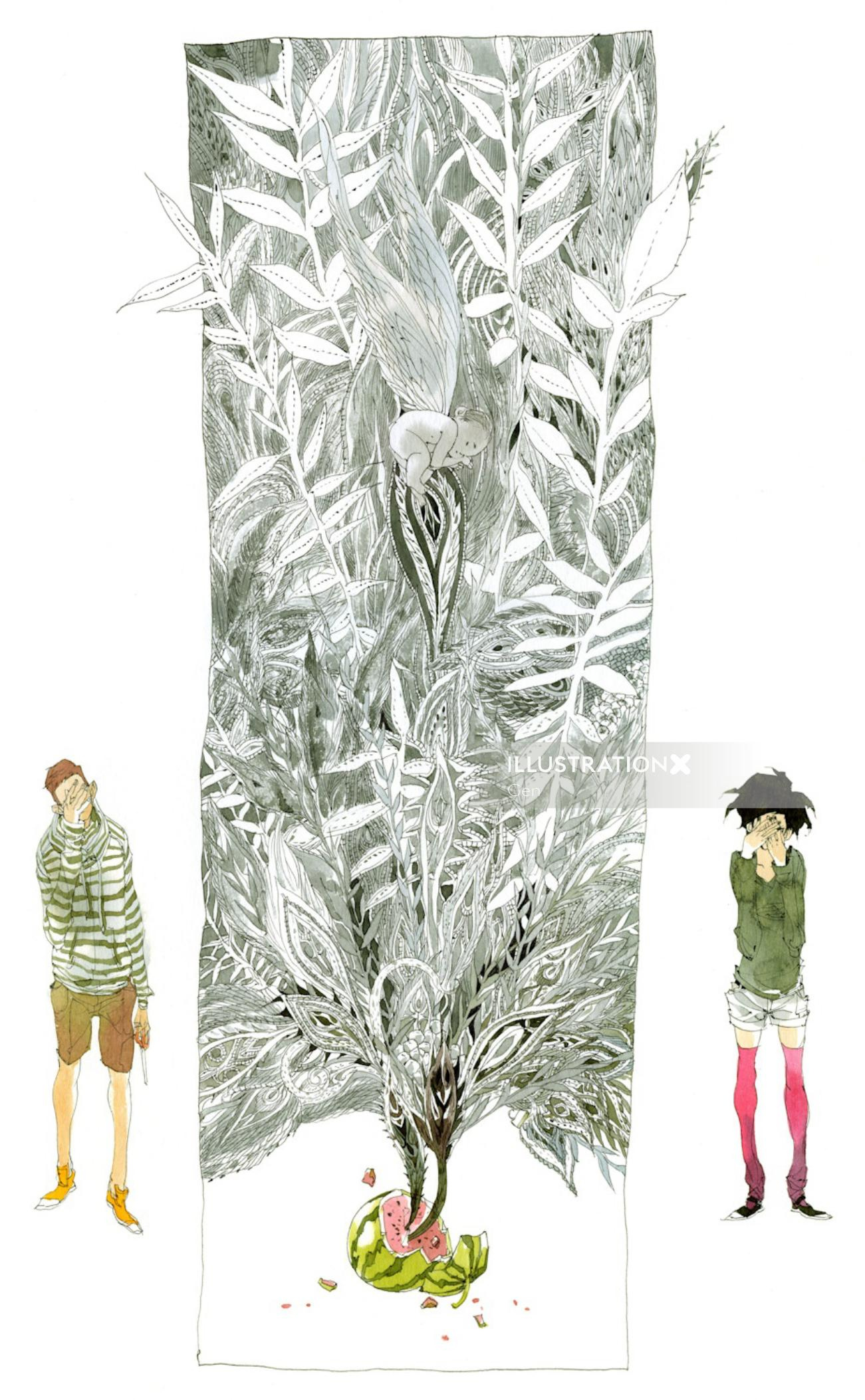 Contemporary illustration tree from watermelon