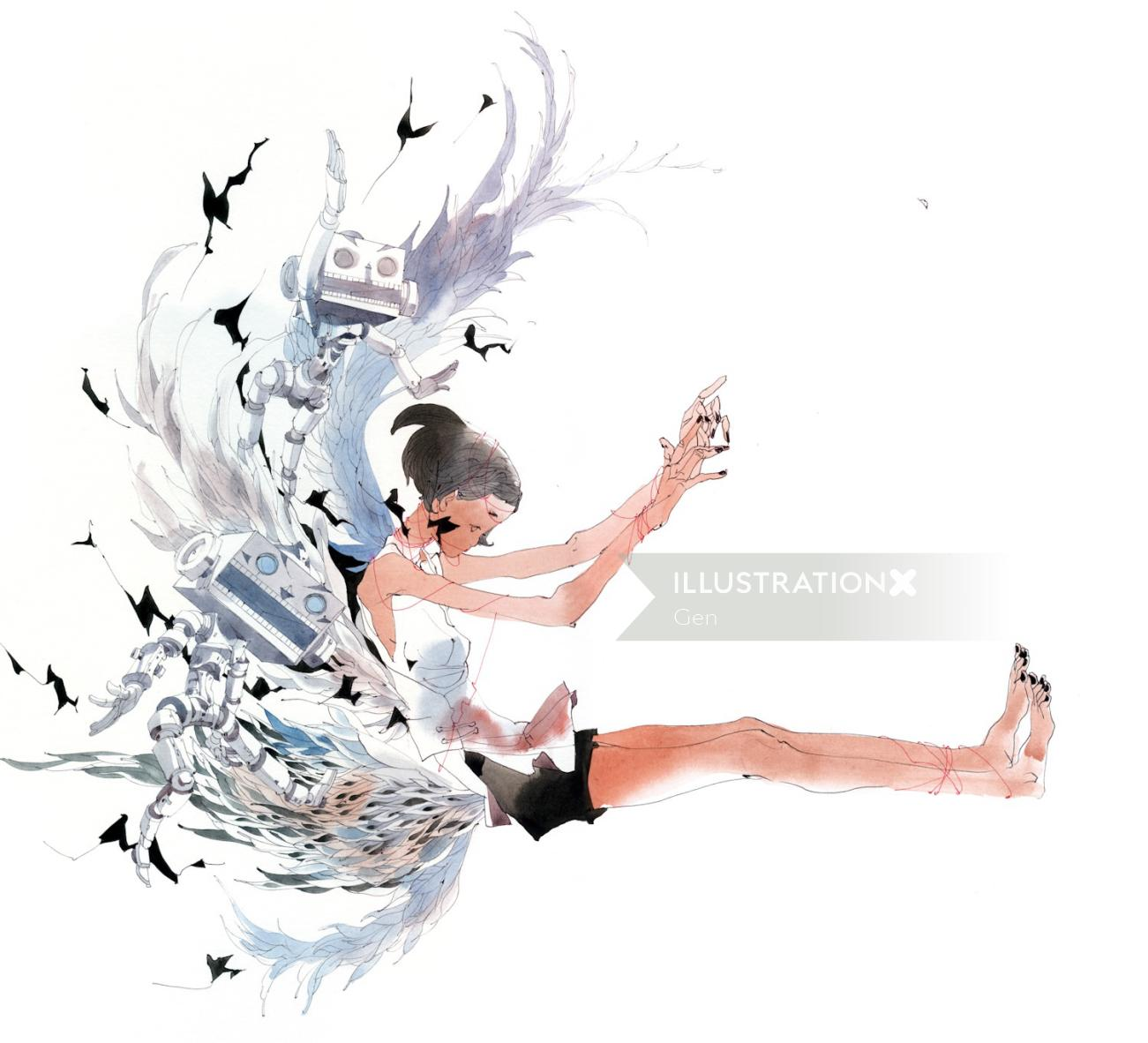 Lady -children's book illustration