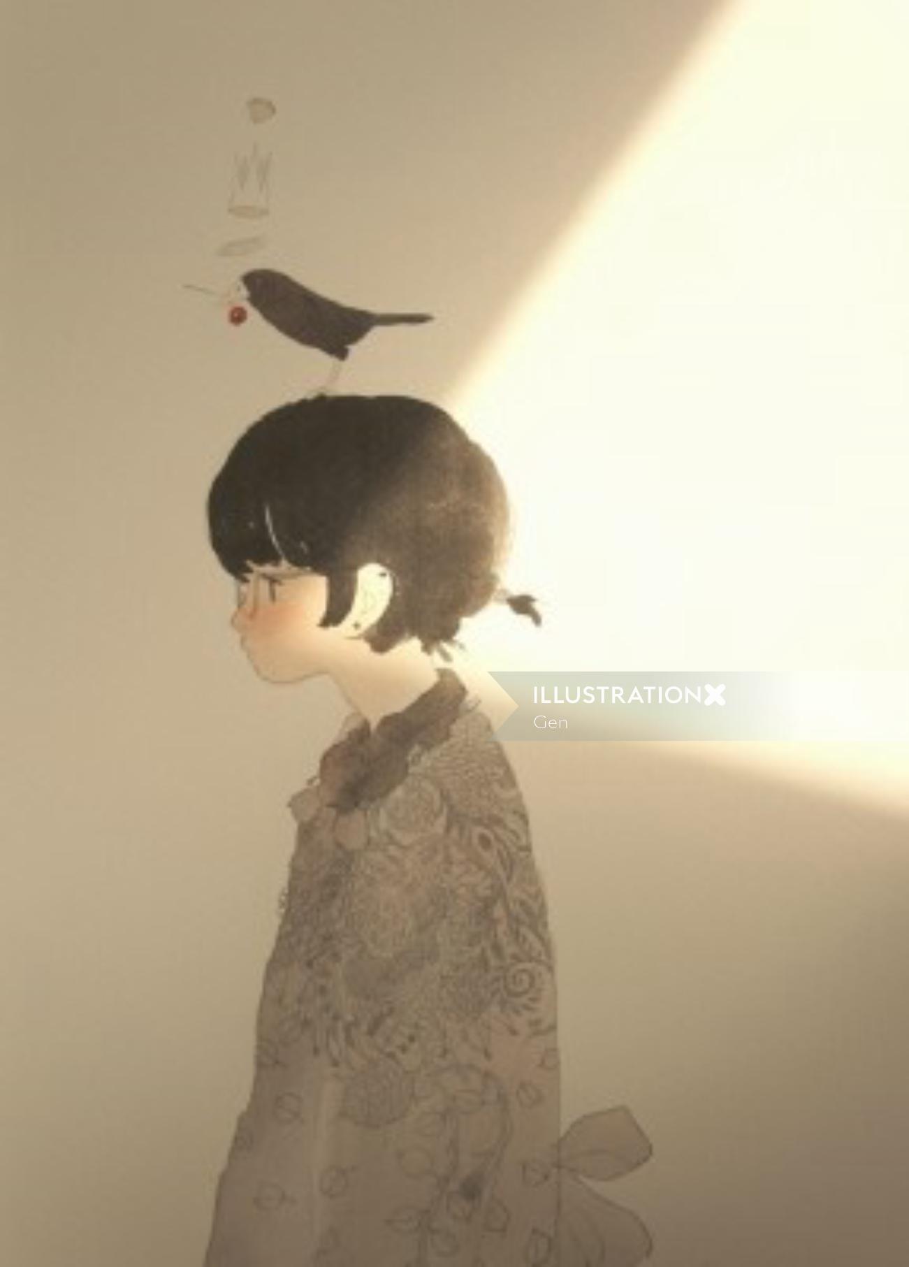 Girl with bird on head