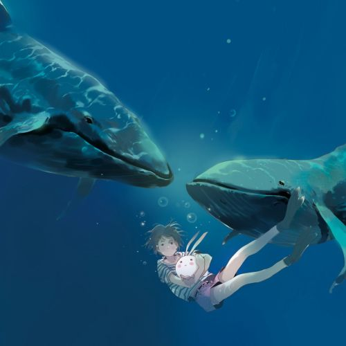 Contemporary illustration of girl with whales