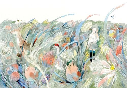 女孩在丛林中的图形