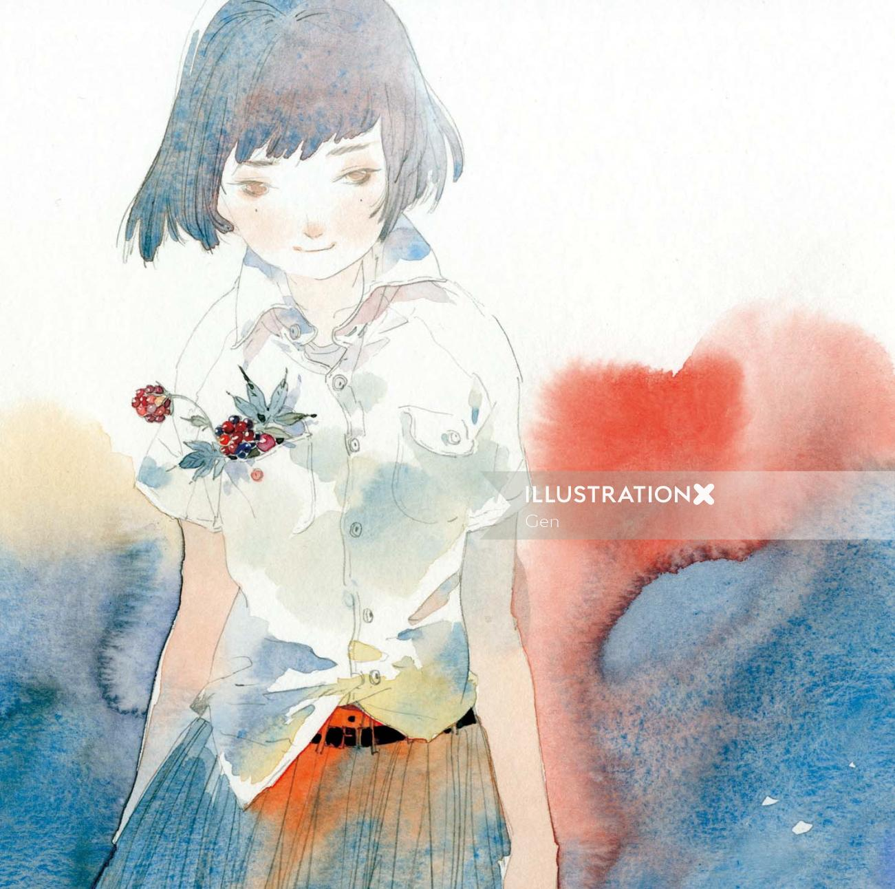Contemporary girl with flower