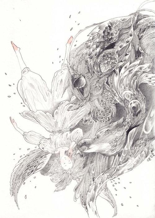 Femme décorative flottant avec oiseau et plumes
