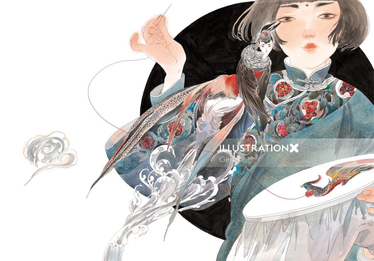 Decorative woman sewing