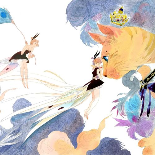 Contemporary illustration angels and cat