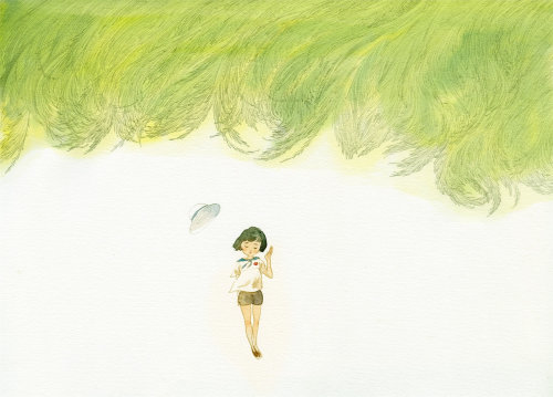 Contemporary illustration girl walking alone