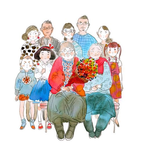 Contemporary illustration family portrait