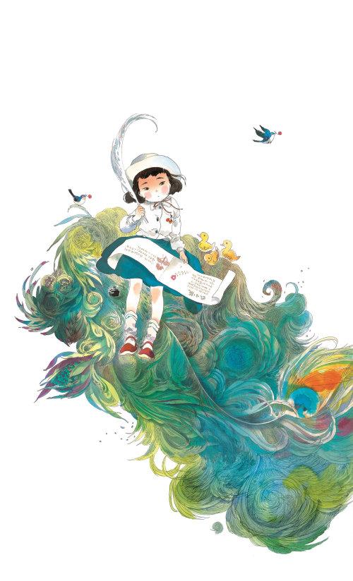 儿童可爱的小女孩在油漆书中绘图