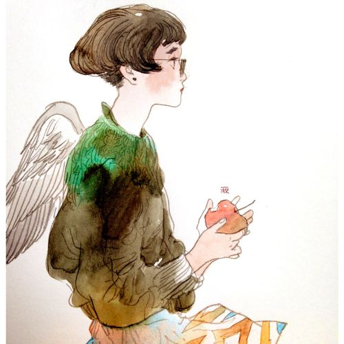 Contemporary illustration of girl with wings