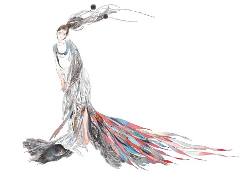 Contemporary illustration fashion dress