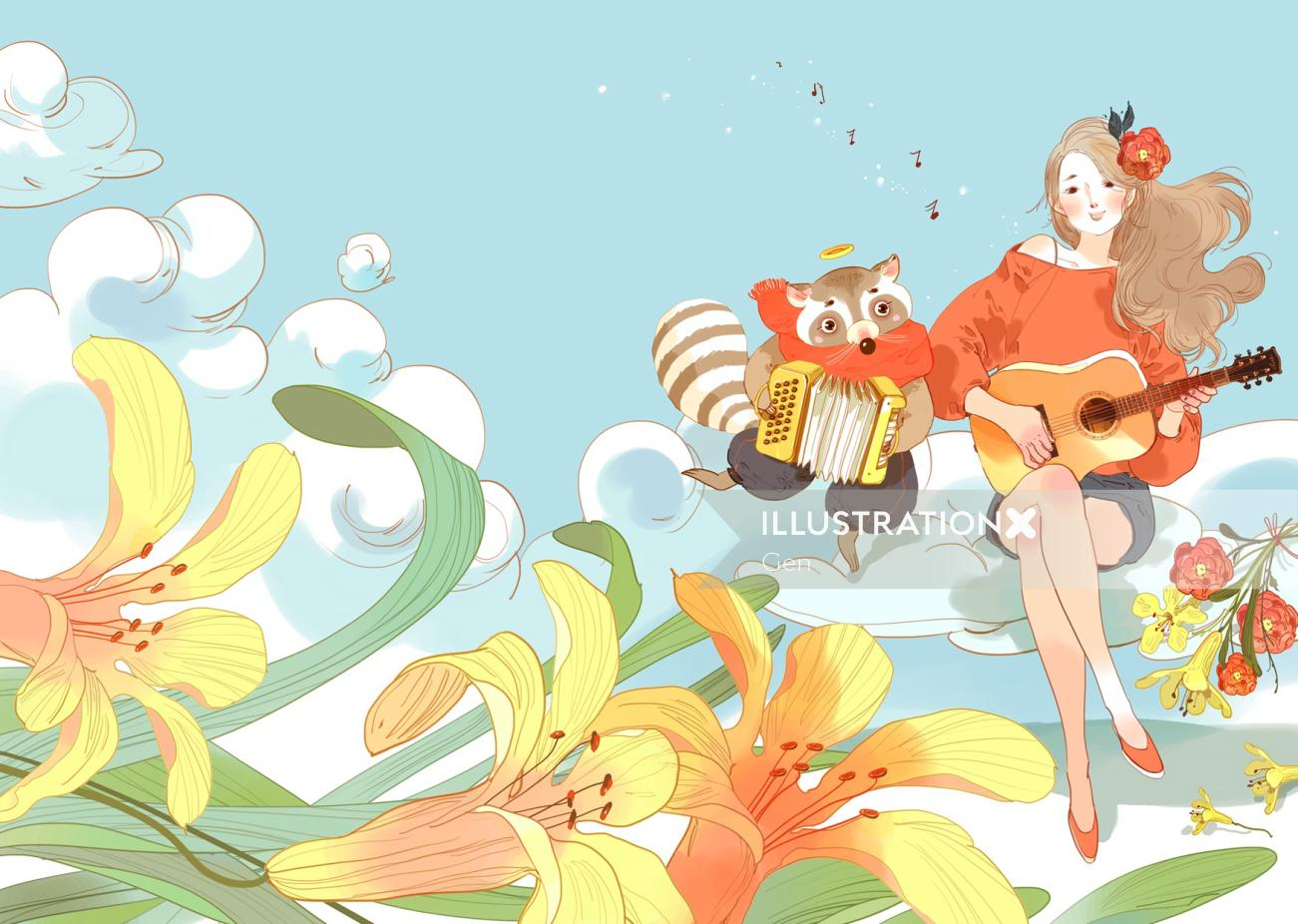 Contemporary Girl playing music