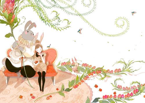 Contemporary illustration of rabbit and girl
