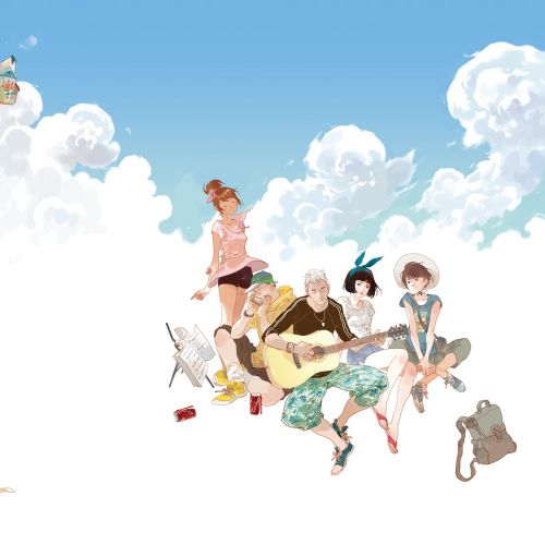 Contemporary illustration girls in cloud